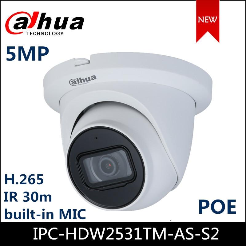 Dahua IP Camera IPC-HDW2531TM-AS-S2 5MP Lite IR Fixed-focal Eyeball Network Camera Starlight Built-in Mic Support POE