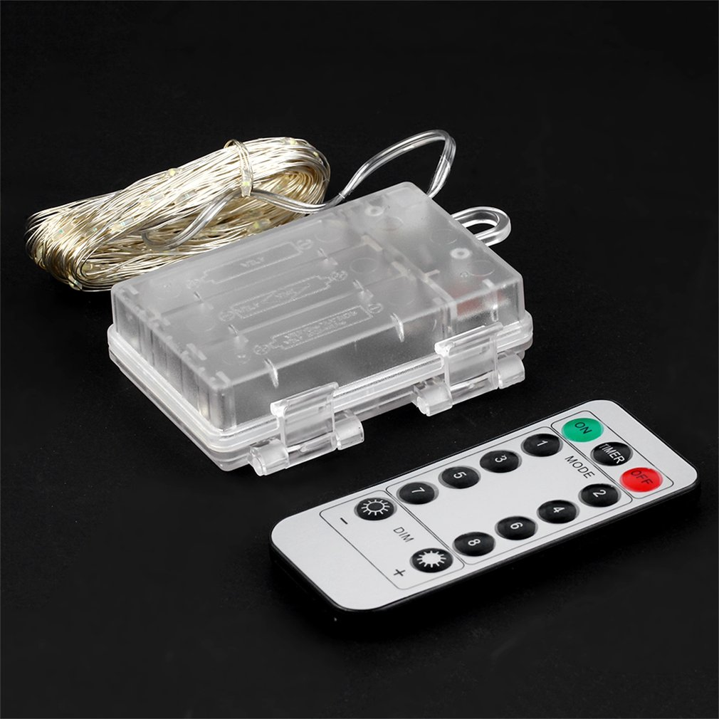 10M 100 LED 3AA Battery Silver Wire String Light Fairy Lamp Decorative Light With 8 Function Remote Control And Battery Box