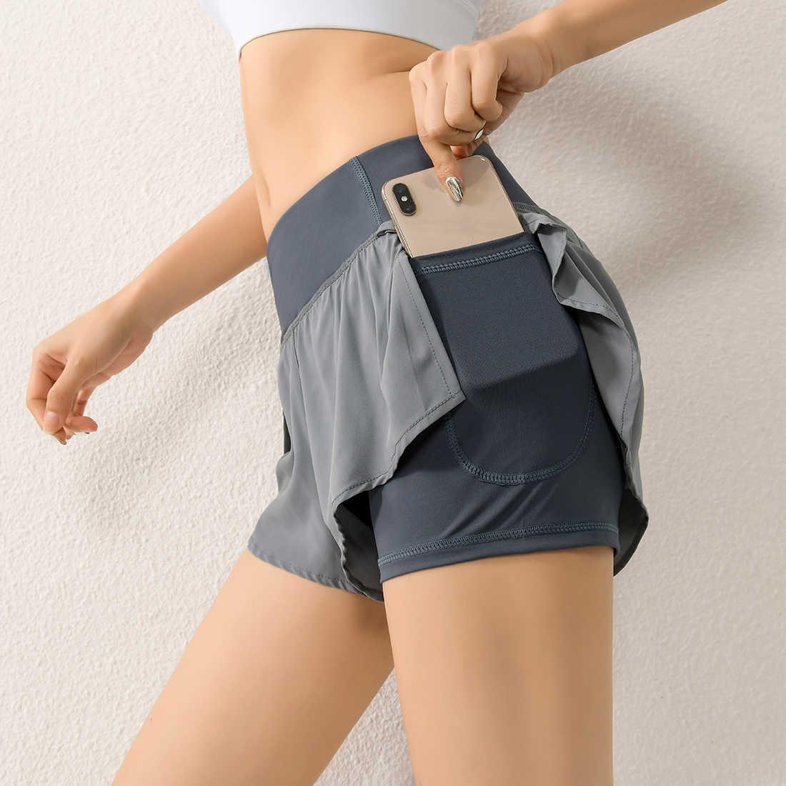 CALOFE 2020 femmes gymnase Double Shorts poche latérale Shorts de course respirant séchage rapide femmes été court entraînement Fitness vêtements de sport