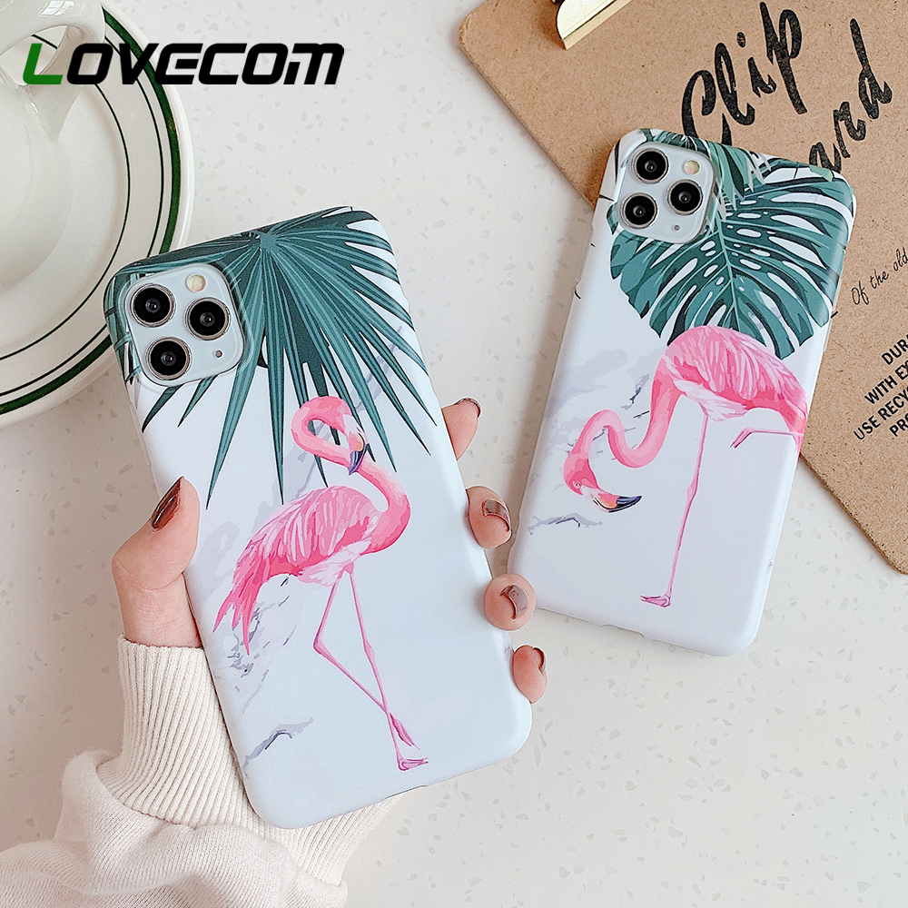 LOVECOM Vintage Flamingo Banana Leaf Phone Case For IPhone 11 Pro Max XR XS Max 7 8 6 6S Plus X Matte Soft IMD Marble Back Cover