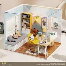 1:12 DIY Dollhouse Sunshine Study House Loft Kit Assembled Miniature Furniture Casa Doll House Toys for Children Adult Gifts