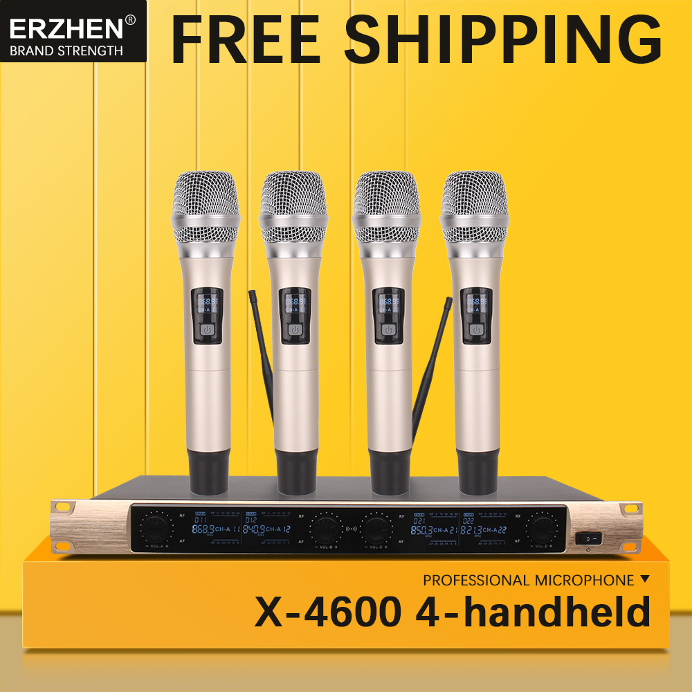 Free shipping Wireless Microphone System X 4600 Professional Microphone 4 Channel VHF Dynamic Professional 4 Handheld