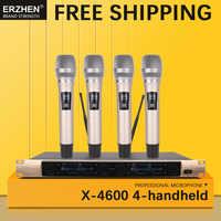 Livraison gratuite système de Microphone sans fil X-4600 Microphone professionnel 4 canaux VHF dynamique professionnel 4 Microphone à main