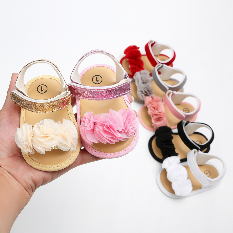 Baby Girl Sandals 6-color Lace Infant Summer Princess Cotton Soft Anti-slip Sole Light Weight Newborn Toddler Girl Shoes