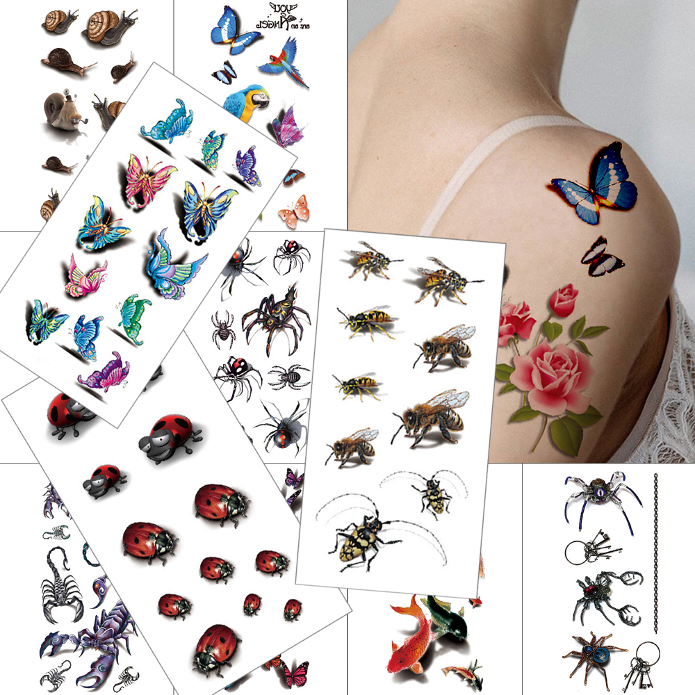 3D Hummingbird Waterproof Temporary Tattoo Sticker Spider Scorpion Simulation Tattoo Fish Butterfly Bee 3D Effect Insect  Tattoo