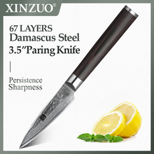 "XINZUO 3.5"" Paring Knife Damascus Steel Kitchen Knife Fruit Peeling Knives Pakkawood Handle Stainless SteeL Table Salad Knives"