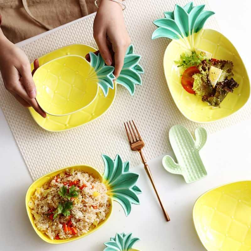 가구 참신 파인애플 모양 세라믹 접시 디저트 간결한 귀여운 패션 과일 요리 테이블 장식 플레이트