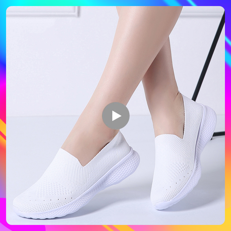 Women flat slip on loafers woman super light mesh white sneakers breathable nurse shoes walking shoes for women sock shoes 3366 image