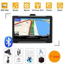 LONGRUFGps tracker coche 7 pulgadas dispositivo de navegación navegador turístico 256mb HD pantalla capacitiva portátil navegador GPS coche Europa