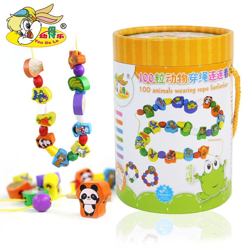 Children Large Particles Bead Toy Wooden Threading Toys 100 Tablets Animal Baby Early Childhood Educational Wear Beads