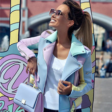 TAOVK Suede Fairy Basic Jackets Colorblock Cut lapel Coats zippers design Belted
