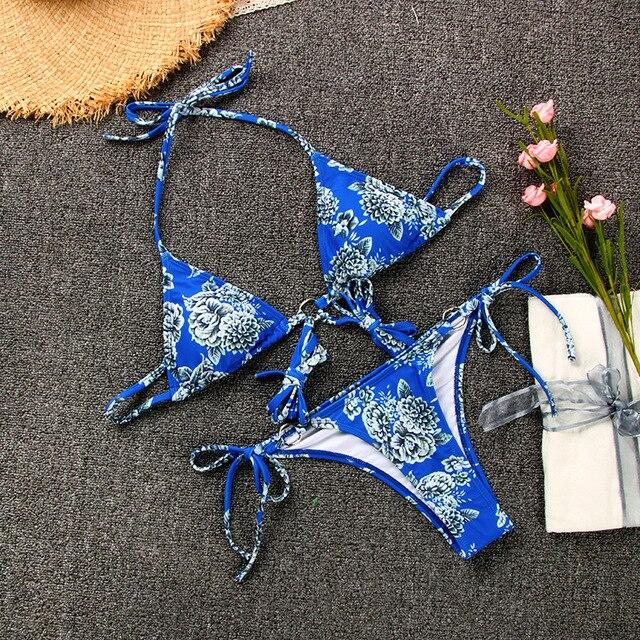 Blue Floral Print Bikini