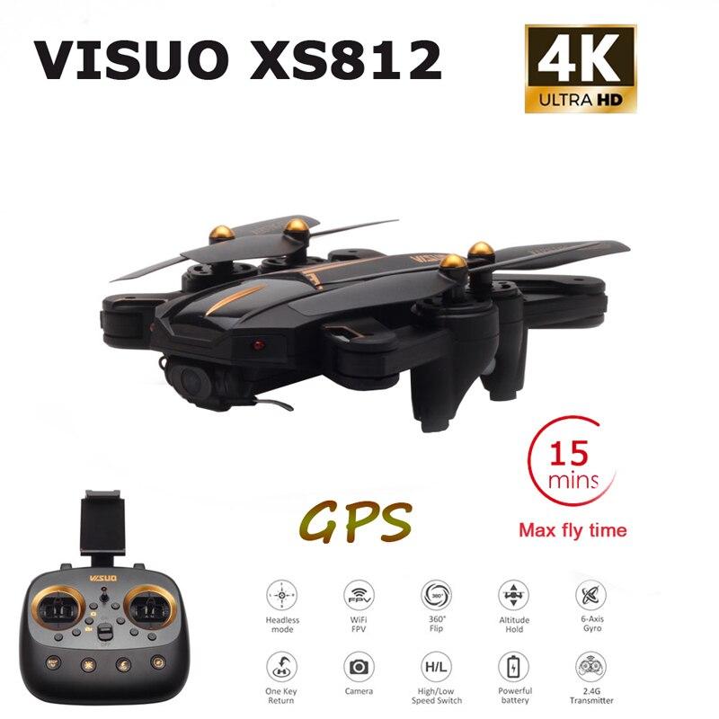 VISUO XS812 GPS RC Drone z 4K HD kamera 5G WIFI FPV wysokość przytrzymaj jeden klawisz powrotu RC quadcopter helikopter's postawy polityczne w Xs816 SG106 w Helikoptery RC od Zabawki i hobby na  Grupa 1