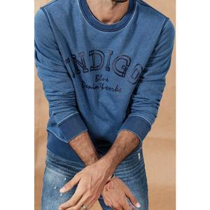 Image 2 - SIMWOOD 2020 가을 뉴 인디고 데님 까마귀 남성 씻어 빈티지 긴 소매 풀오버 편지 인쇄 streetwear 스웨터 SI980511
