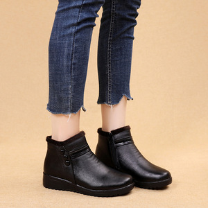 Image 4 - GKTINOO 2020 Fashion Winter Boots Women Leather Ankle Warm Boots Mom Autumn Plush Wedge Shoes Woman Shoes Big Size 35 41