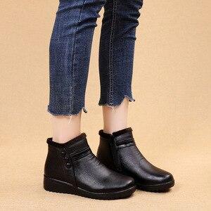 Image 4 - GKTINOO 2020 Mode Winter Stiefel Frauen Leder Knöchel Warme Stiefel Mom Herbst Plüsch Keil Schuhe Frau Schuhe Große Größe 35 41