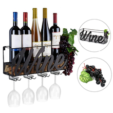 1Pc Creative Iron Wall-mounted Red Wine Glass Bottle Holder Household Living Room Bar Goblet Hanging Storage Rack