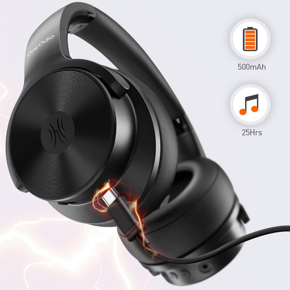 Oneodio a30 cancelamento de ruído ativo fones sem fio sobre a orelha bluetooth 5.0 fone de ouvido com graves profundos cvc 8.0 claro mic viagem