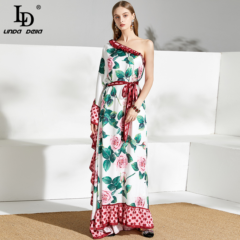 LD LINDA DELLA Plus Size Maxi Dress Summer Women Sexy Off Shoulder Ruffles Floral Print Vacation Elegant Belted Loose Long Dress