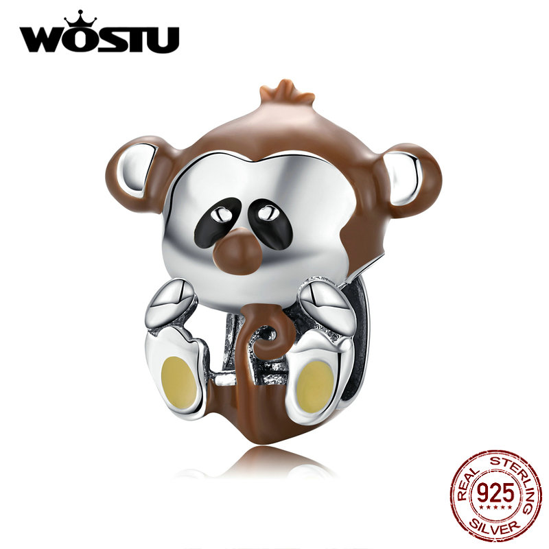 WOSTU Real 925 Sterling Silver Naughty Monkey Animal Beads Brown Charms Fit Original Bracelet Necklace For Women Jewelry CTC125