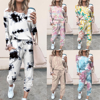 Tie Dye Print Women Clothing Set Two Piece Long Sleeve Blouses Trousers Ladies Outfit Fashion Casual Female Clothes Set Pants fashion print casual top shorts two piece suit tie dye set women clothes loose summer clothing pajama set