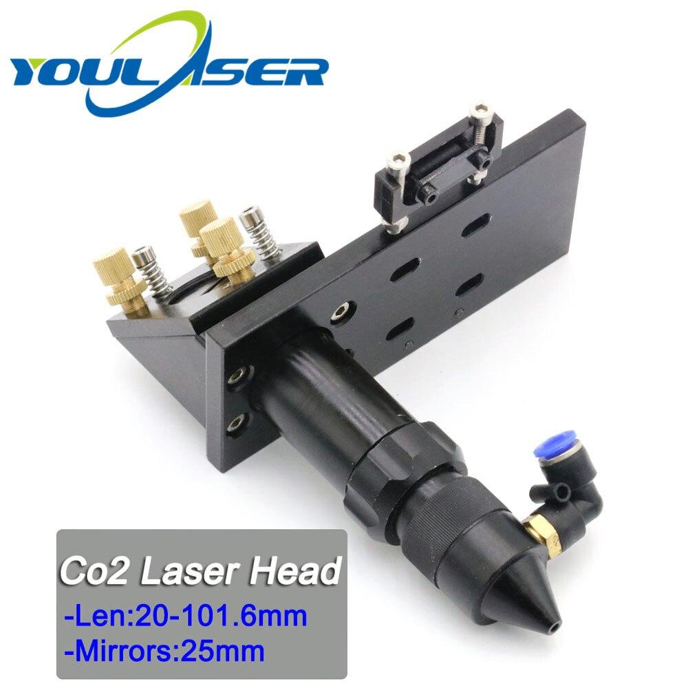 CO2 Laser E Head For Focus Lens Dia.20 FL.101.6mm & Mirror 25mm Mount
