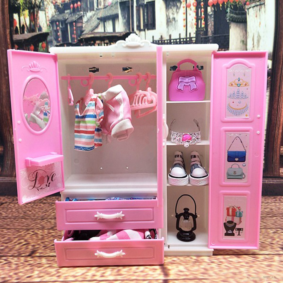Pink Doll Wardrobe Dollhouse Furniture Plastic Storage Cabinet Closet Organizer Storage Dollhouse Kid Room Furniture Accessories