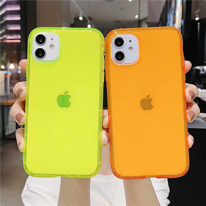 LOVECOM 형광 색상 충격 방지 전화 케이스 아이폰 11 프로 최대 XR X XS 최대 7 8 플러스 네온 케이스 소프트 TPU 지우기 전화 커버