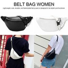 2019 Womens Waist Bag Fanny Pack PU Belt Purse Small Phone Key Pouch White Black Packs