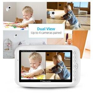 Image 3 - كاميرا FUERS 7 بوصة 720P عالية الدقة لاسلكية لمراقبة الأطفال والرؤية الليلية شاشة تهويدة لاسلكية مزدوجة شاشة LCD مراقبة مربية