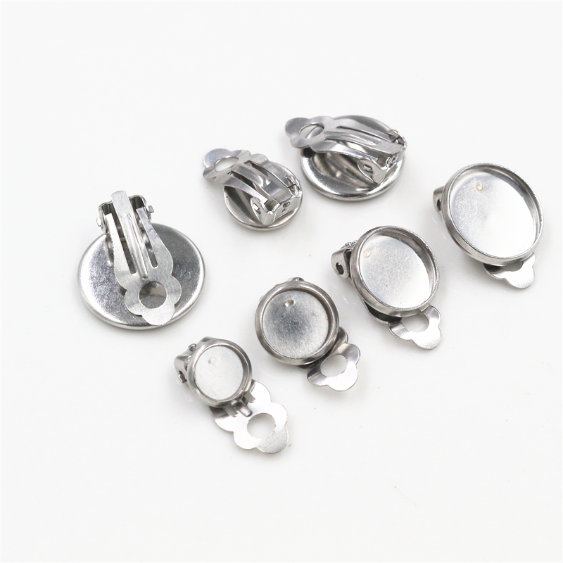 6/8/10mm 10pcs/lot Stainless Steel Material Ear Clips ,Stainless Steel Earring Base Cameo Bezels Tray For Jewelry Supplies
