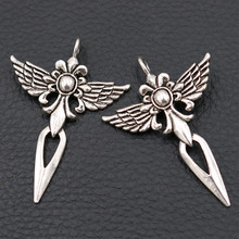Fashion Crosses Metal Pendant, Religion Charms, Jesus Charms,Angel Wings Charms, Spear Charms, Silver Tones 47*34mm A65 8pcs wings amulet pendant angel wings charms rose wings charms diy handmade jewelry charms tibetan silver tone a2022 10pcs