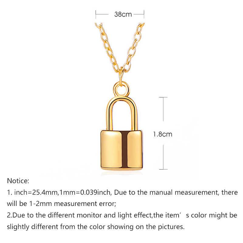 Ouro de cobre/prata cor cadeado pingente colares pequeno elo clavicular corrente bloqueio colares feminino unissex gargantilha