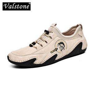 Image 1 - Valstone 정품 가죽 캐주얼 신발 남자 품질 남자 스 니 커 즈 드라이브 신발 탄성 레이스 업 슬립에 신발 자연 피부