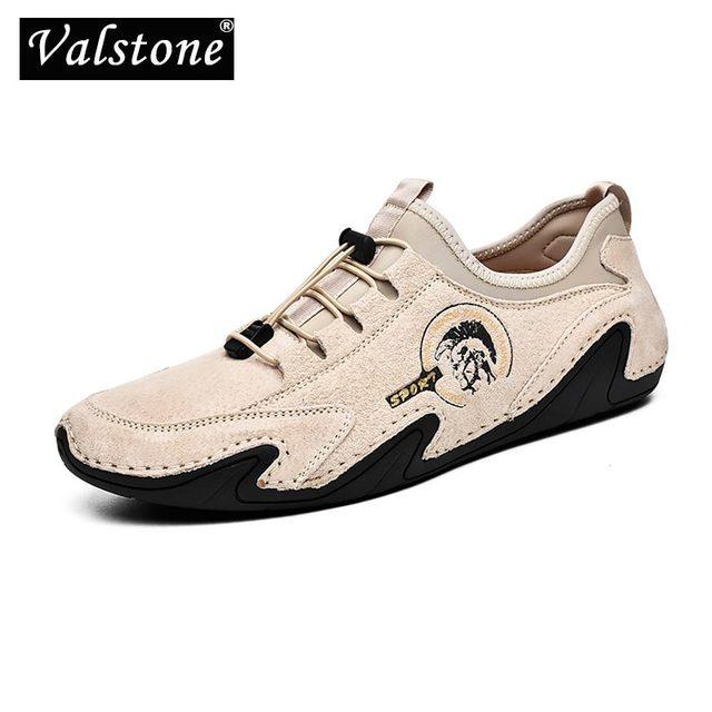 Valstone 정품 가죽 캐주얼 신발 남자 품질 남자 스 니 커 즈 드라이브 신발 탄성 레이스 업 슬립에 신발 자연 피부