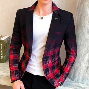 Plaid Blazer Coats Dress Clothing Business Wedding Party Casual Slim New Spring Colorblock