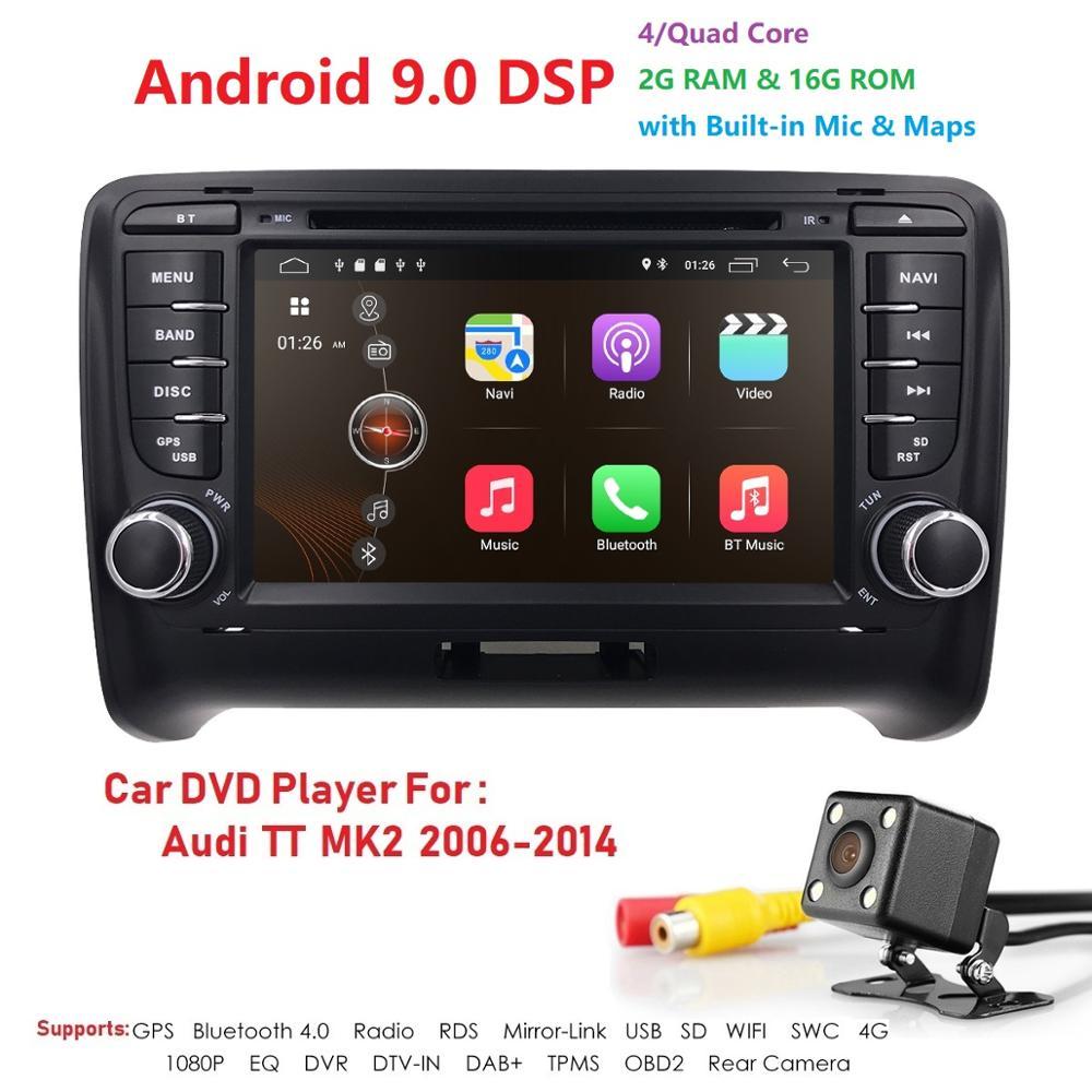 Mejor Android9.0 4G 2GRAM 16GROM WIFI unidad principal estéreo de coche radio reproductor GPS para coche HD BT sistema multimedia para Audi TT MK2 (2006 2014