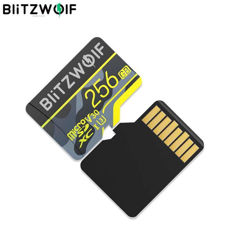 Tarjeta de memoria BlitzWolf BW-TF3 con adaptador C10 U3 tarjeta Micro SD 64GB tarjeta inteligente TF 32/64/128/256GB para cámara grabadora UAV