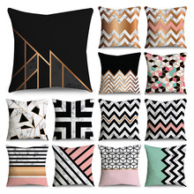 Geometric black marble pattern printed pillow case polyester fiber soft car sofa home decoration pillow cushion cover(China)