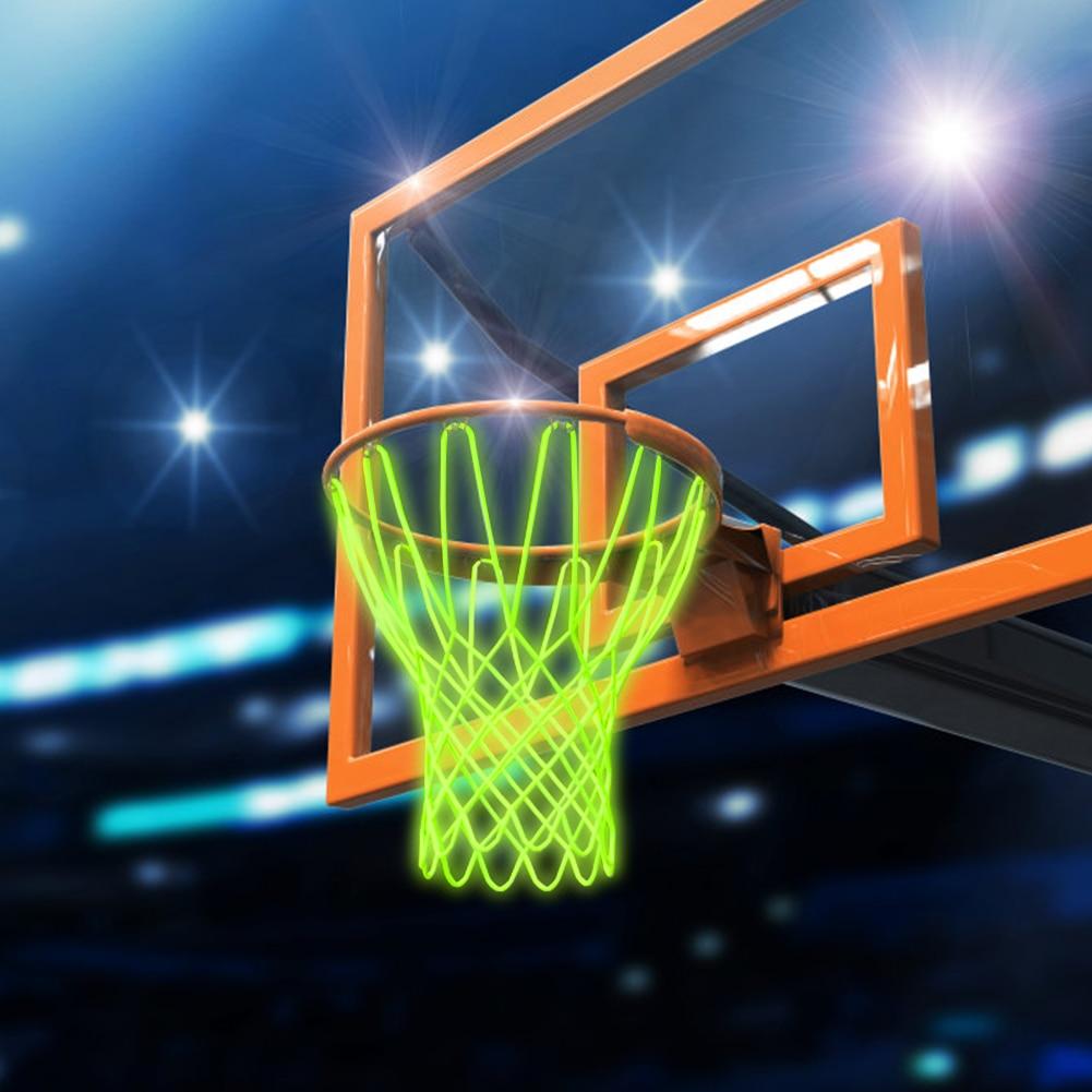 Luminous Basketball Net Mesh Net Backboard Rim Ball Pum Sun Powered Nylon 12 Loop Basketball Hoop Basket Rim Net