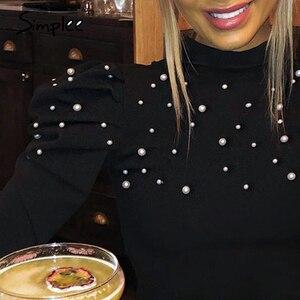 Image 2 - Simplee Borda dolcevita perla più il formato camicetta delle donne camicia Casual di usura del lavoro elegante pullover top manica lunga Primavera blsus