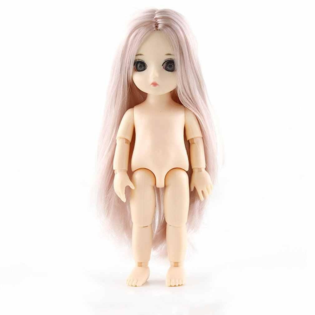 Q wersja 16cm łączona lalka DIY nagie ciało kręcone proste włosy dziewczyny prezent z 3D oczy głowy lalki zabawki dla dzieci