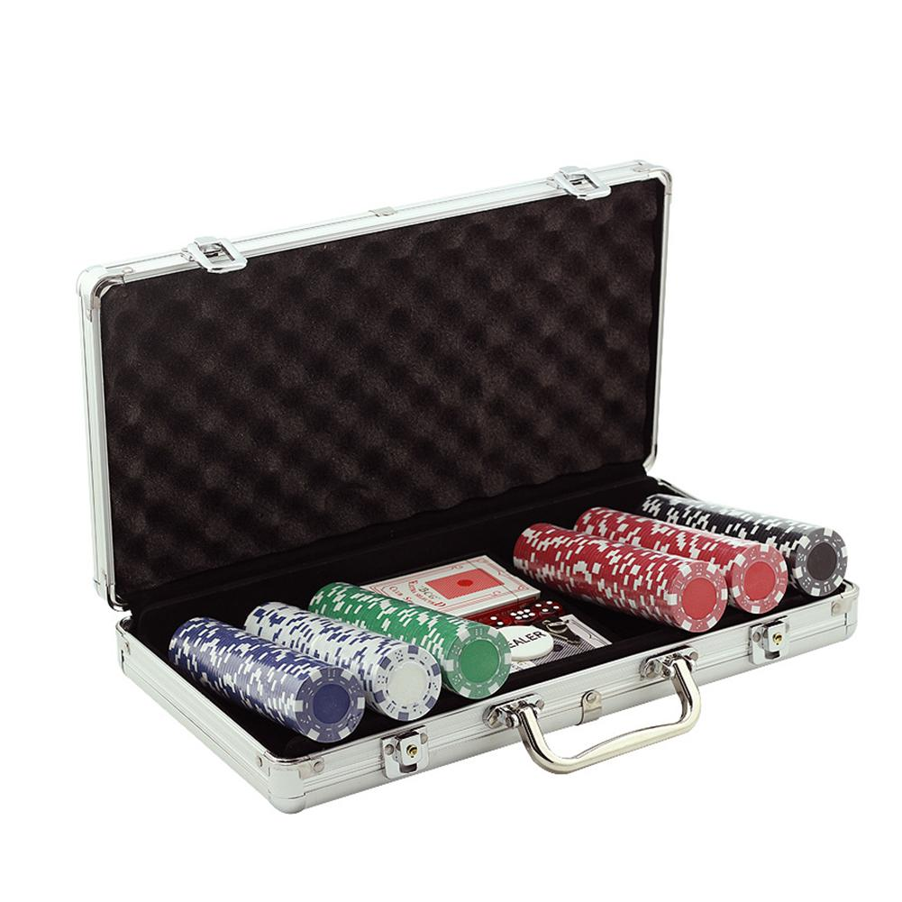 Poker Chips Set Gambling Chips With Aluminum Case Playing Game Accessories 100/200/300PCS Professional Casino Pokerstars