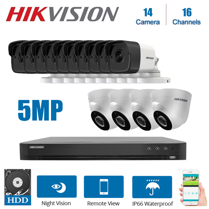 <font><b>Hikvision</b></font> <font><b>16CH</b></font> <font><b>DVR</b></font> video überwachung und 5MP 14-stück Hybrid 4 in 1 CVI/TVI/AHD/ CVBS nacht vision security system Kit image