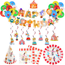 Tableware Banner Pull Clown Birthday-Party-Decor Circus-Theme Wig-Props Flag Garland