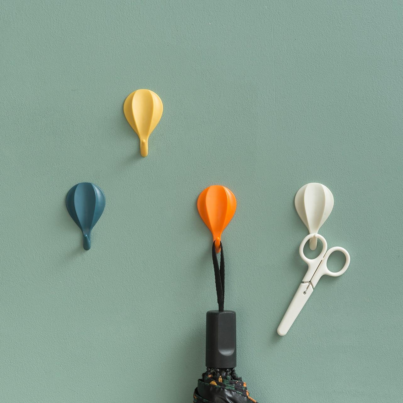 New Plastic Hot Air Balloon Wall Hanging Kitchen Hook Seamless Door Solid Hook Rack Key Holder Wall Hooks Decorative Hanger