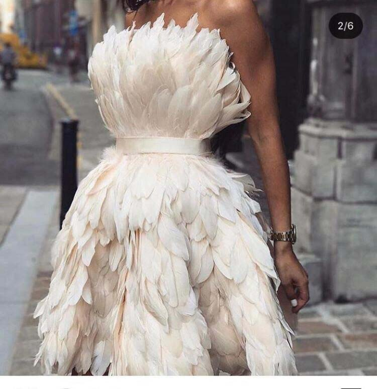 Sexy Strapless Off The Shoulder Sleeveless Feather Mini Length Short Prom Dresses