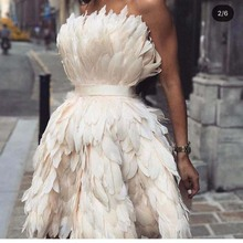 Sexy Strapless Off the Shoulder Sleeveless Feather Mini Length Short Prom