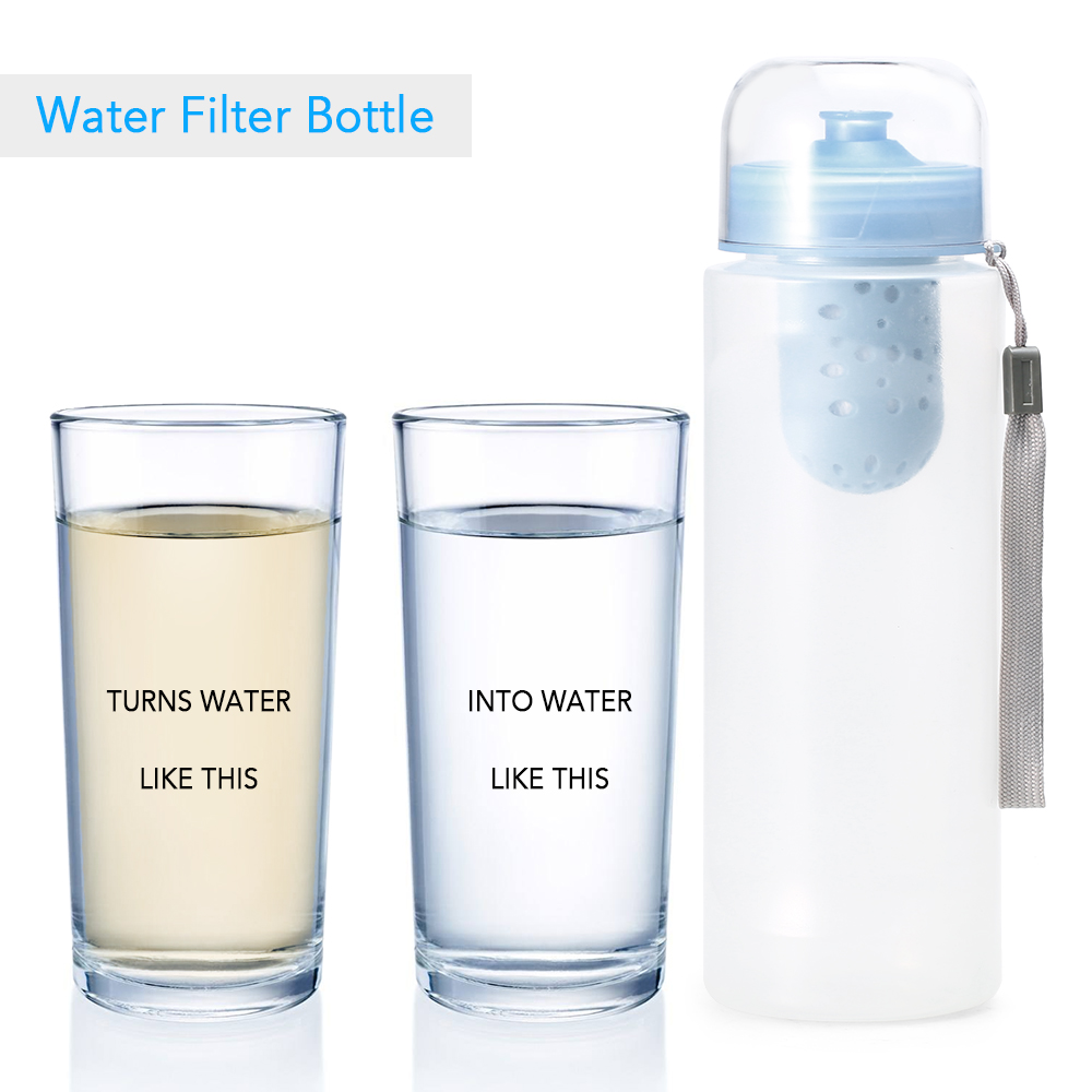 Outdoor Water Filter Bottle Water Filtration Bottle Purifier for Camping Hiking Traveling Emergency Survival Water Filter Tools
