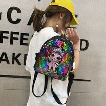 Womens Mini Backpack With Sequins Glitter Shoulder School